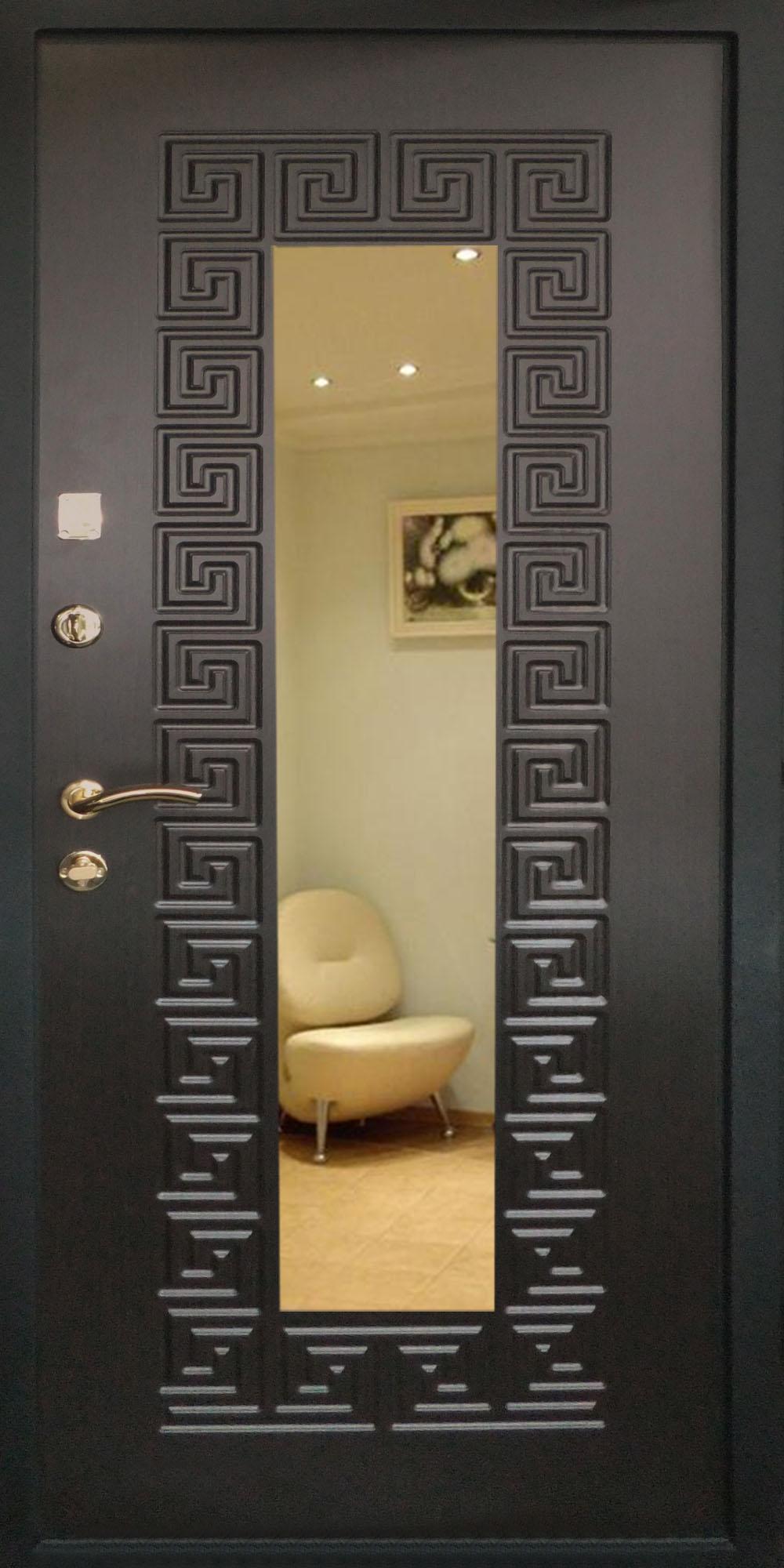 входные двери с зеркалом в центре